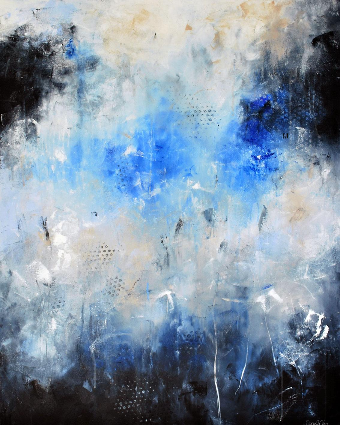 Abstrakt målning mörkblå beige grå blå vit