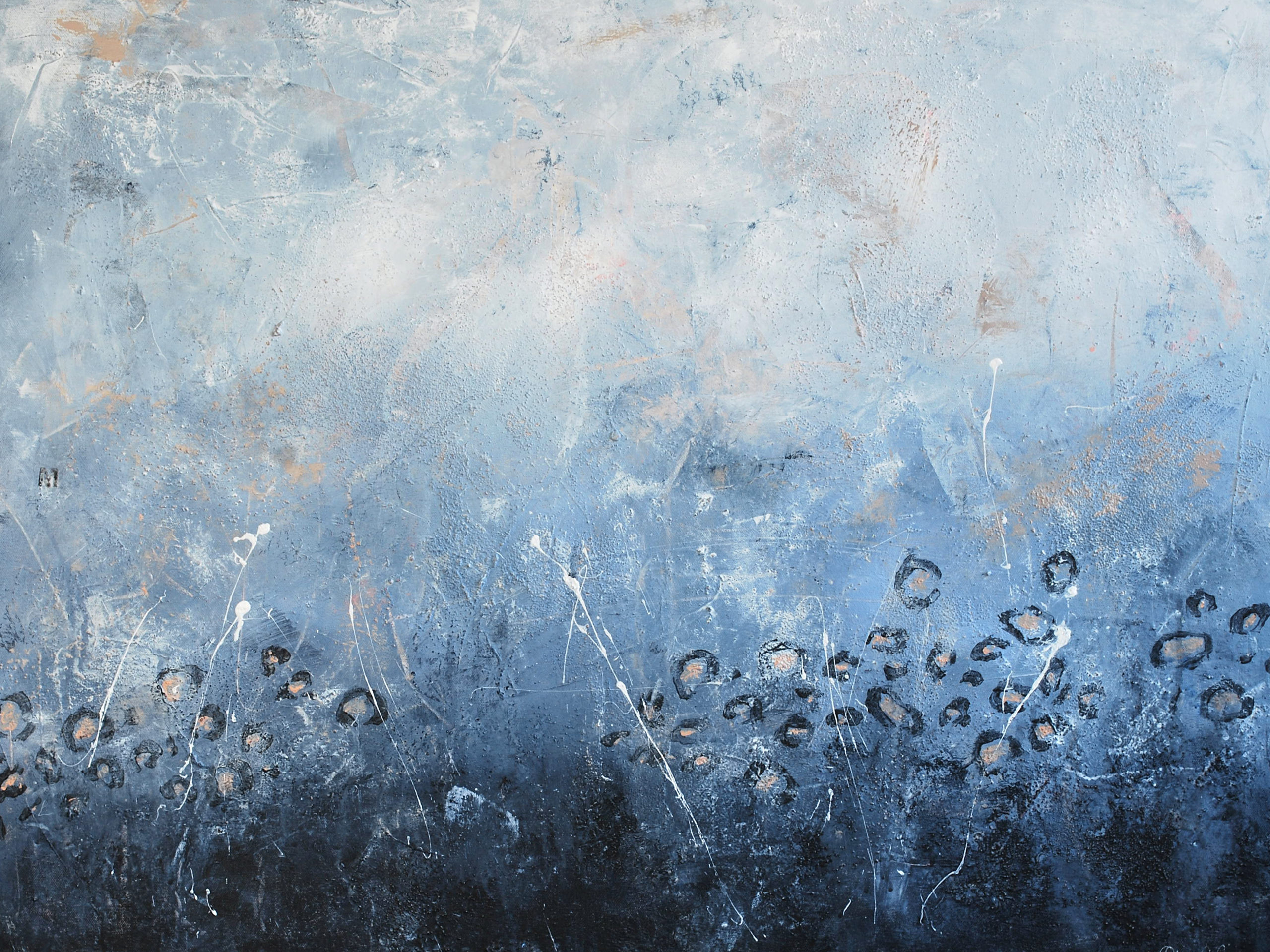 Abstrakt akrylmålning i blå nyanser